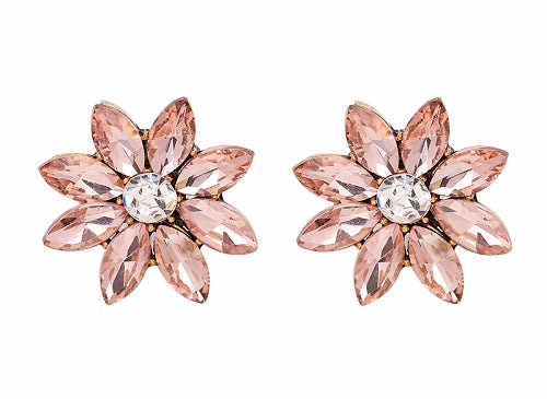 Crystal & Flower Earrings - Light Pink