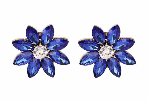 Crystal & Flower Earrings, Metal Color - blue