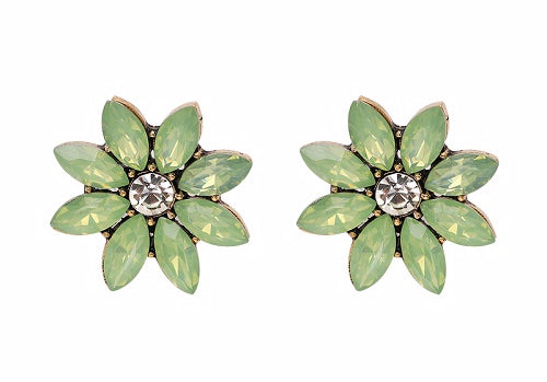 Crystal & Flower Earrings, Metal Color - light green