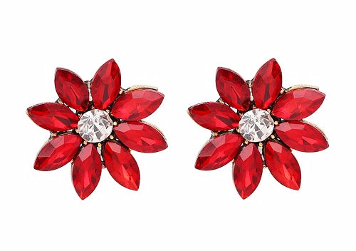 Crystal & Flower Earrings - Red