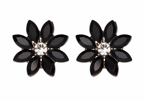 Crystal & Flower Earrings  - Black