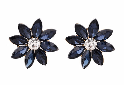 Crystal & Flower Earrings - Deep Blue