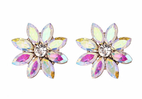 Crystal & Flower Earrings  - Pearl