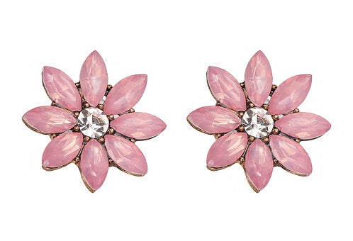 Crystal & Flower Earrings - Pink