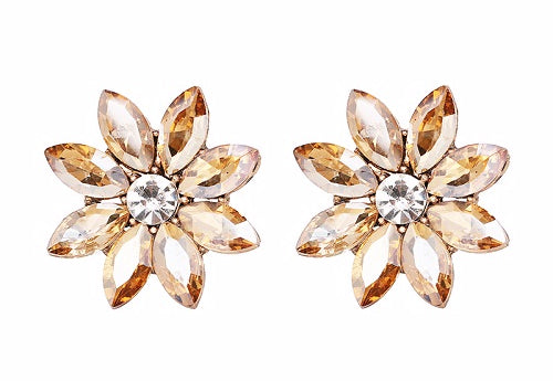 Crystal & Flower Earrings - Brown