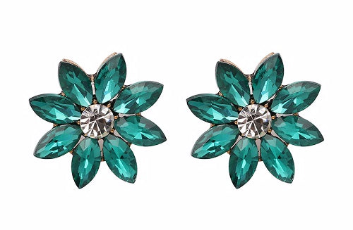 Crystal & Flower Earrings - Green