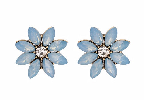 Crystal & Flower Earrings  - Light Blue