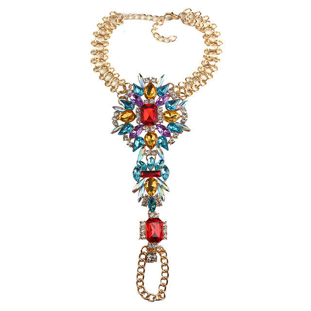 Summer Crystal Body Jewelry ( Ankle Bracelet ) - Gold & Blue & Red