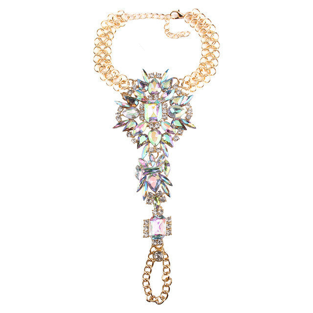 Summer Crystal Body Jewelry ( Ankle Bracelet ) - Gold & Pearl