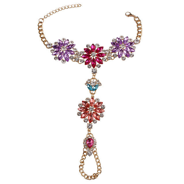 Summer Crystal Body Jewelry ( Ankle Bracelet ) - Purple & Red