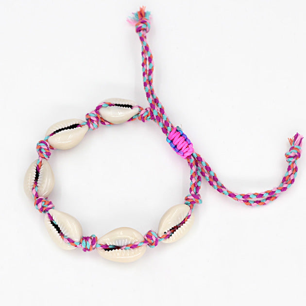 Shells Bracelet - Fucsia & Light Blue