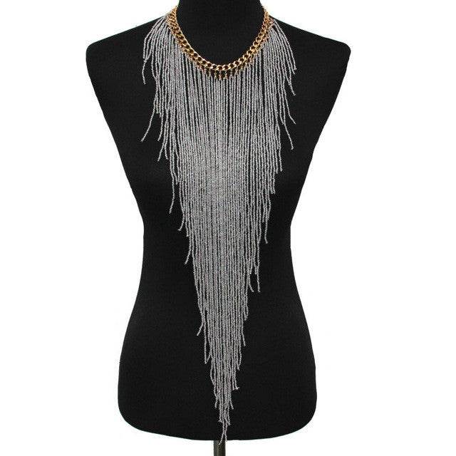 Long Necklace - Grey