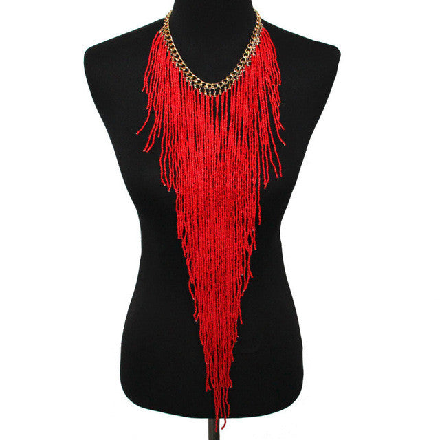 Long Necklace - Red