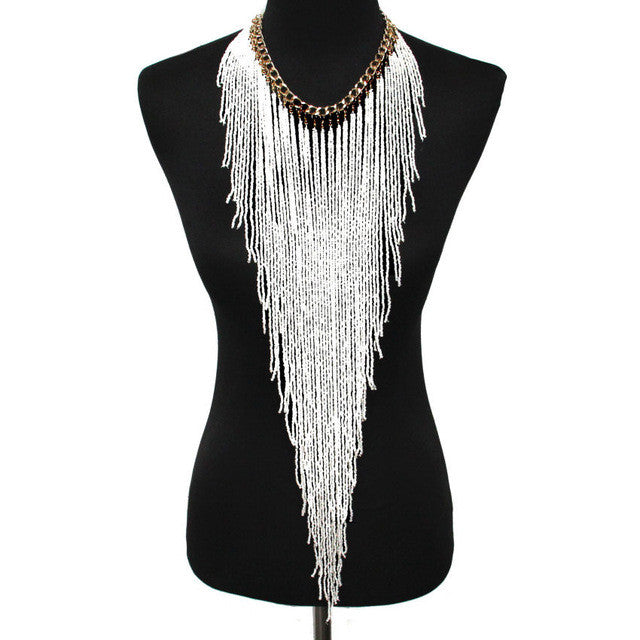 Long Necklace  - White