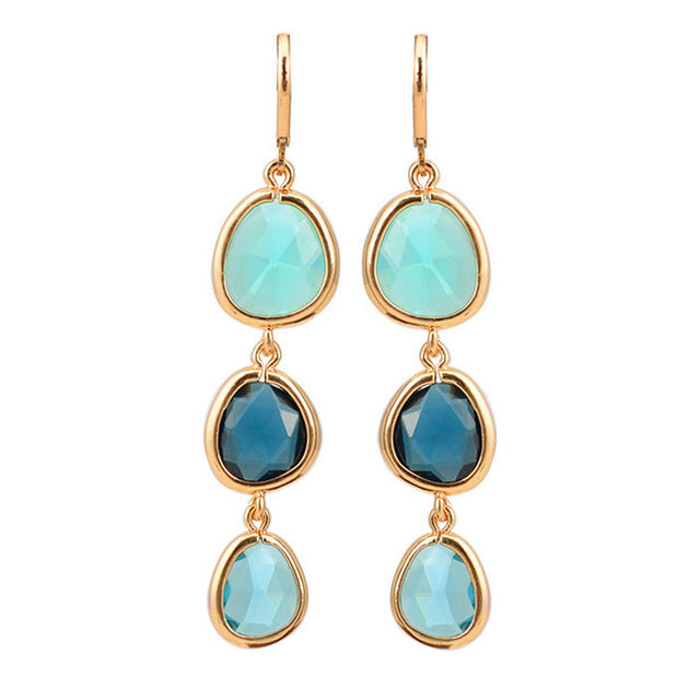 Crystal Stone Earrings  - Blue