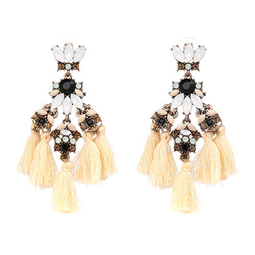 Fringed Earrings - Cream