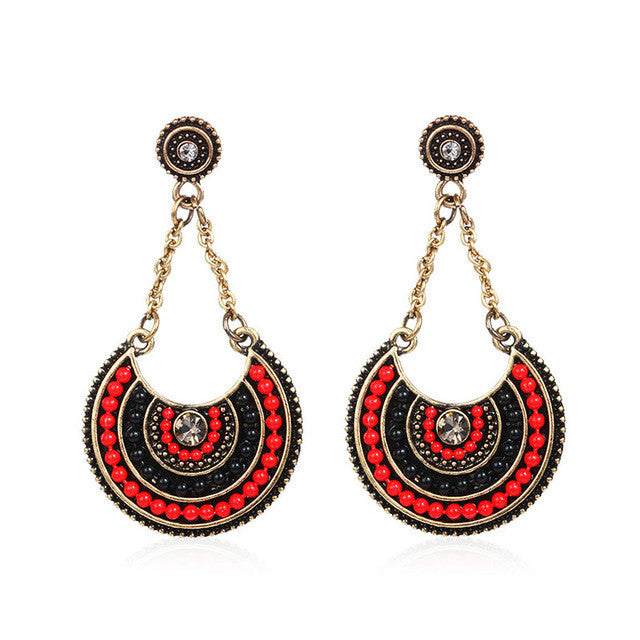 So Ethnic Earrings  - Gold & Black & Red