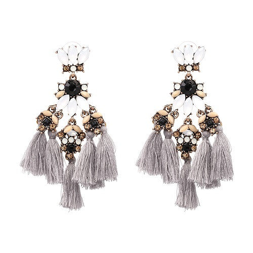 Fringed Earrings - Grey