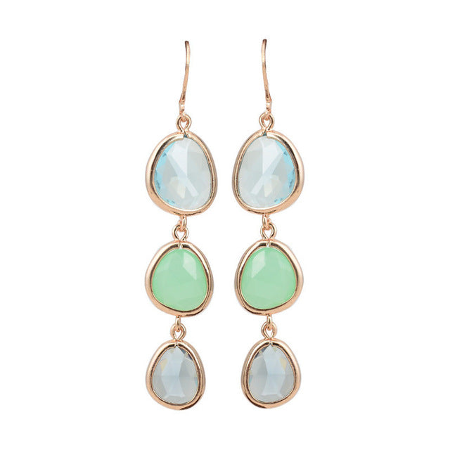 Crystal Stone Earrings - Green
