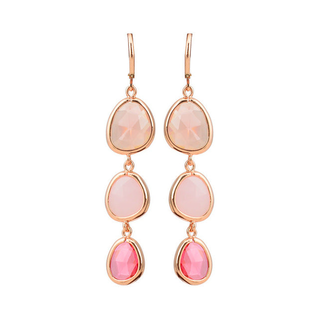 Crystal Stone Earrings - Pink