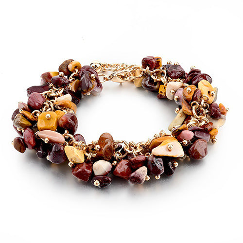 Stone Gold Bracelet - Red Brown