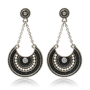 So Ethnic Earrings, Metal Color - Silver & Black & White