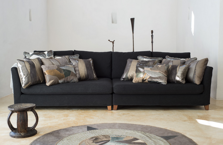 Metallic grey leather pillows in patchwork design