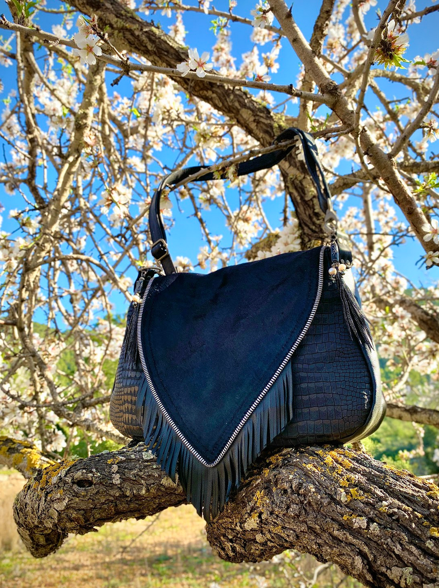 Big Nicole Bag II - one of our signature black leather handmade handbags.  Bohemian style leather handbag.