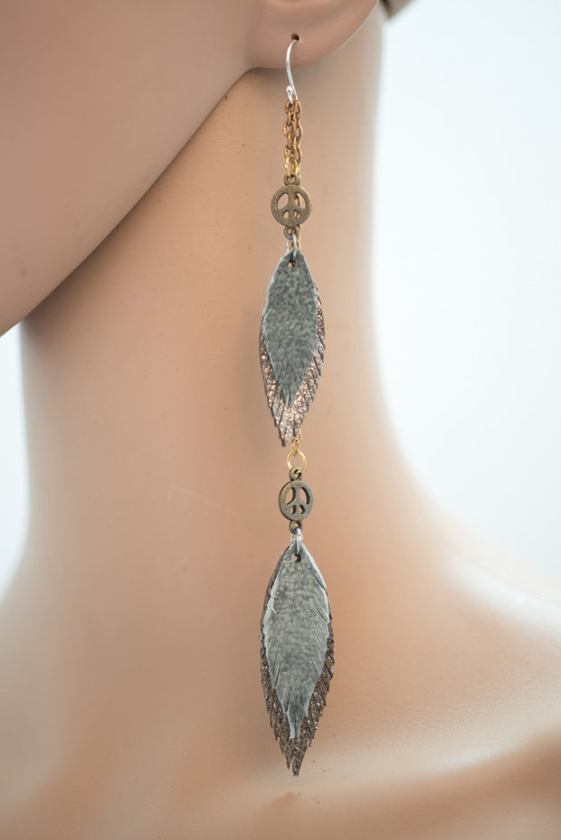 Double Feather Drop Earrings - Handmade Leather in Blue Jean Colour