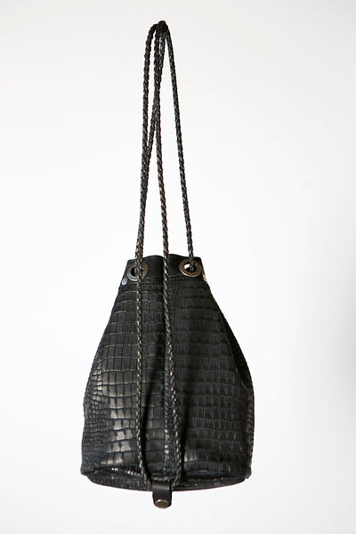 The Black Handmade Leather Backpack or Crossbody Bag