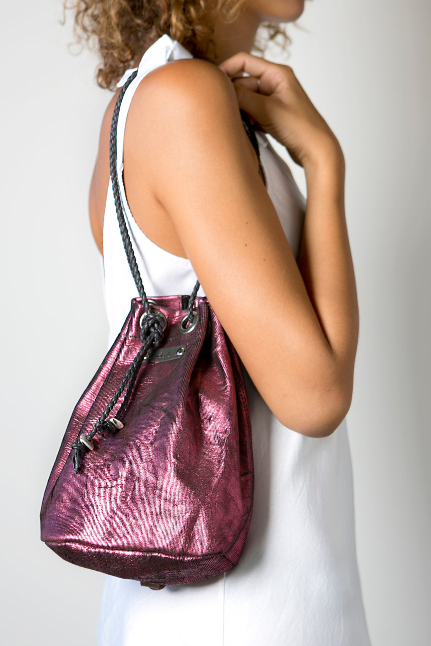 Handmade Leather Bag and Backpack in Metallic Pink