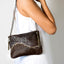 Leather brown wavy crossbody handbag