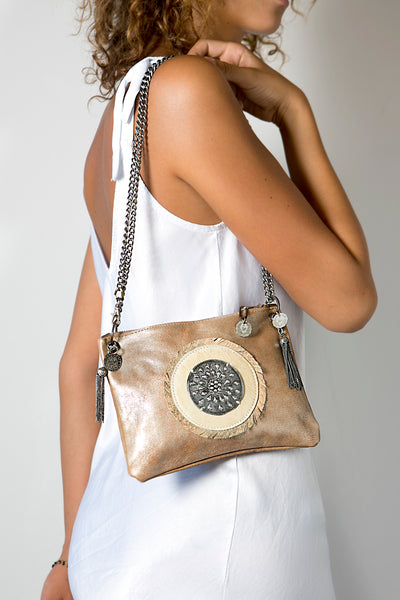 The Gold Leather Handbag