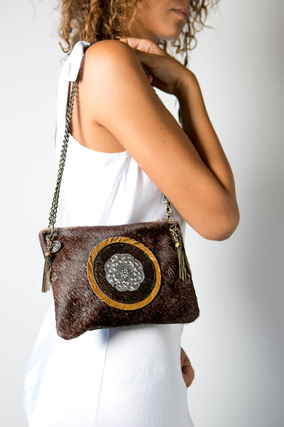 Handmade Leather Brown Crossbody Handbag with Metal Chain and Metallic Silver Circle
