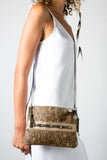Handmade Leather Small Clutch or Shoulder Handbag in Safari Print