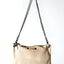 Leather cream crossbody handbaag with metallic detail