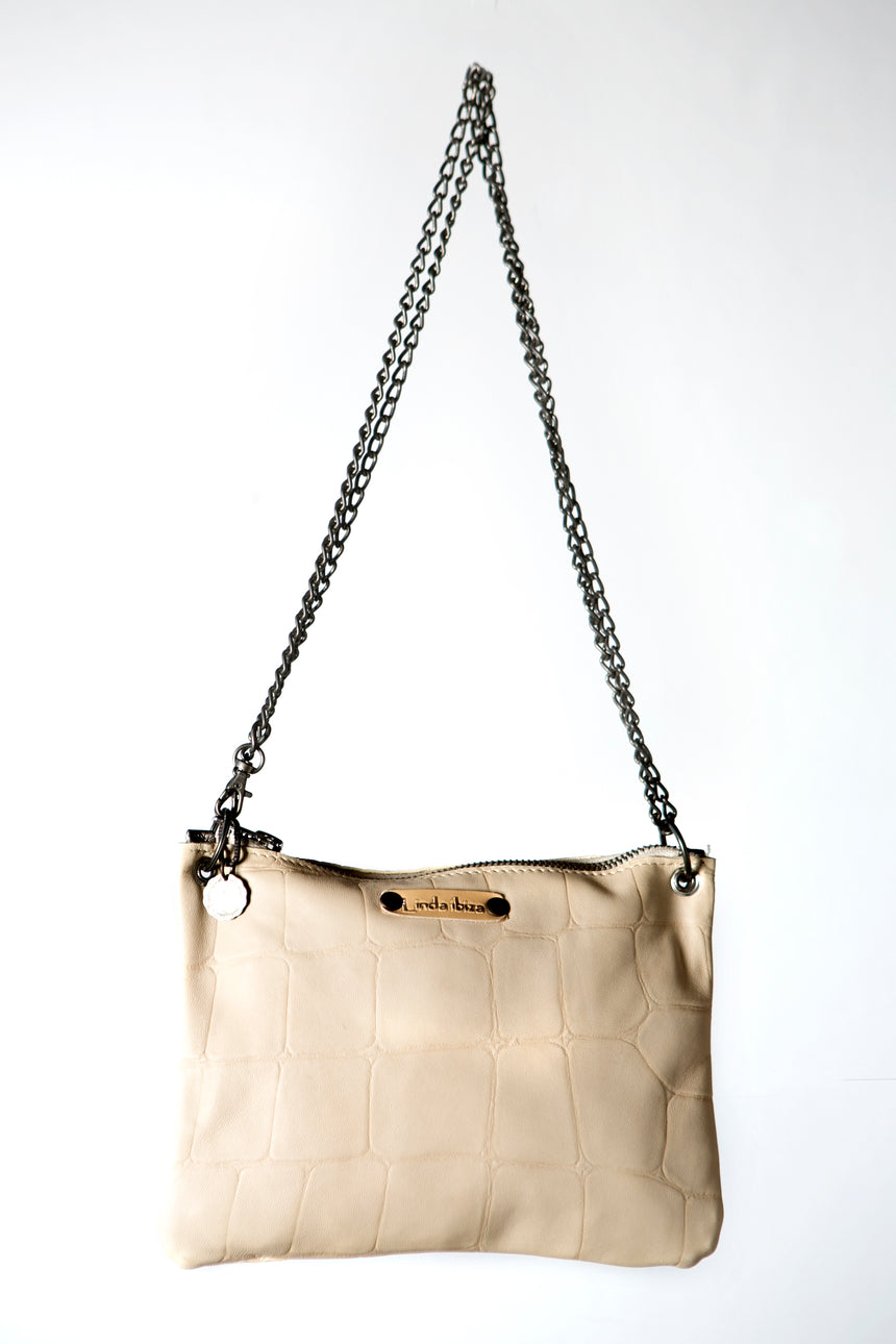 Cream Handmade Leather Handbag Crossbody or Shoulder Bag with Metallic Detail