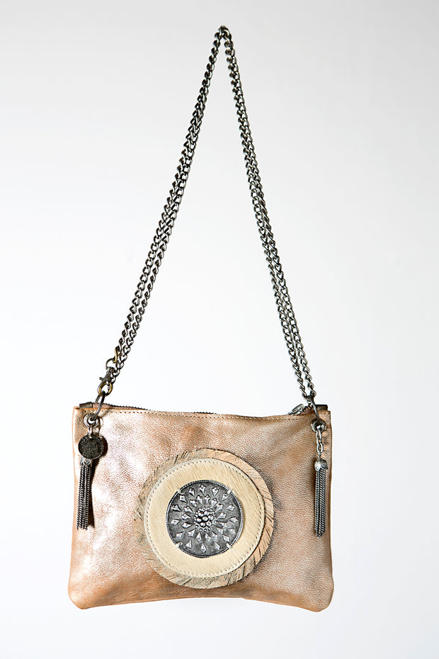 Handmade Metallic Beige Leather Crossbody Bag