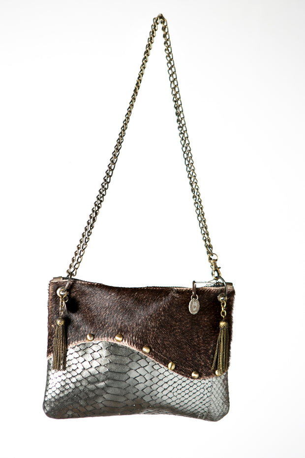 The Wavy Silver and Brown Handmade Leather Crossbody Bag