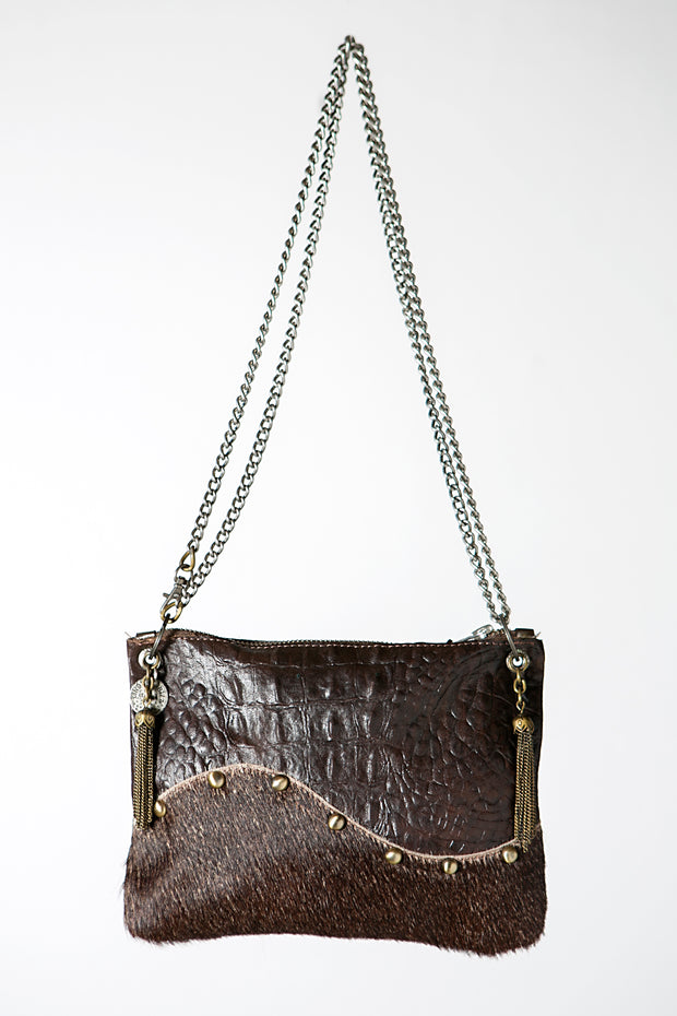 The Wavy Brown Handmade Leather Crossbody Bag