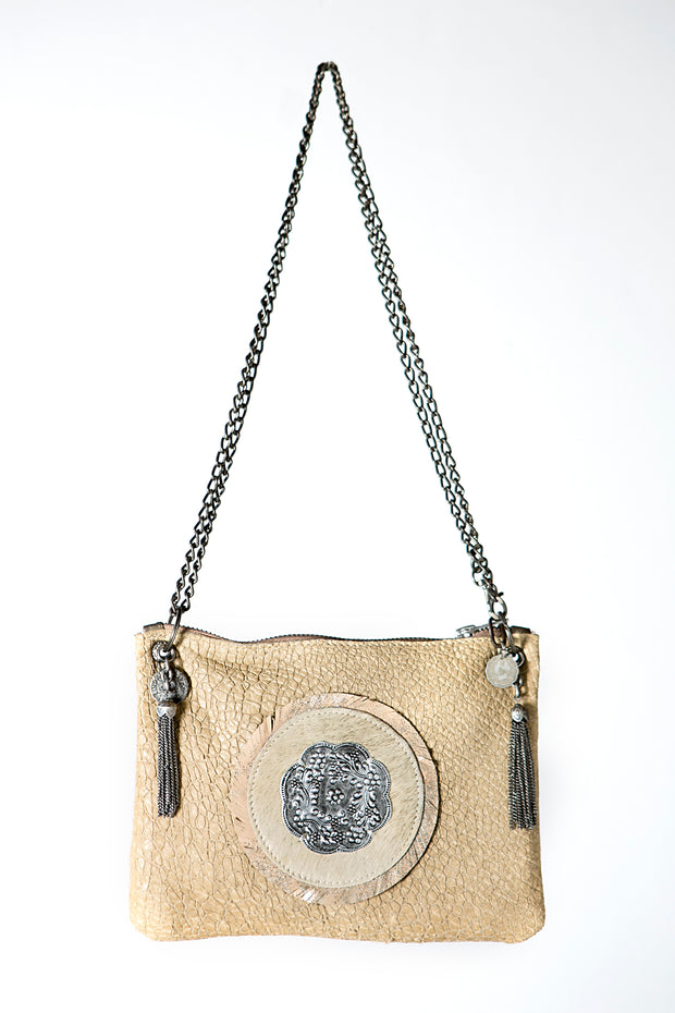 Beige Leather Handbag with Silver Metallic Detail