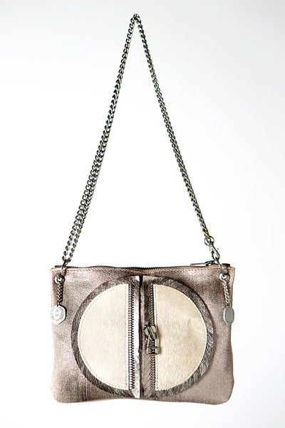 The Moon Metallic Grey and Cream Leather Handbag