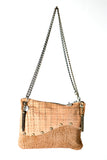 The Wavy Beige Handmade Leather Handbag with Adjustable Chain