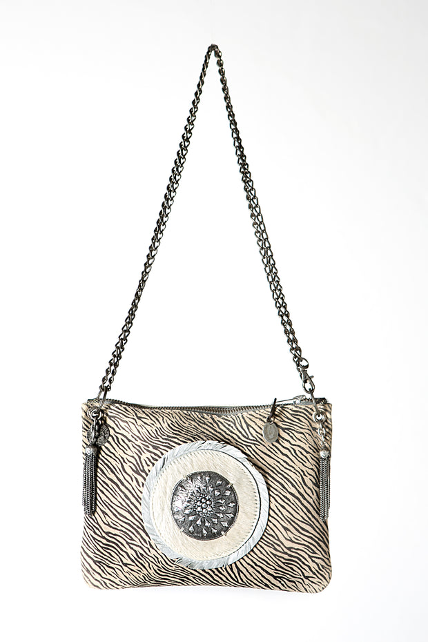 The Zebra Print Handmade Leather Crossbody Handbag