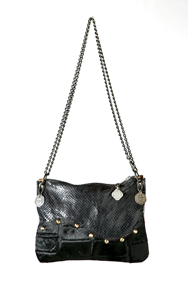 The Wavy Black Handmade Leather Crossbody Bag