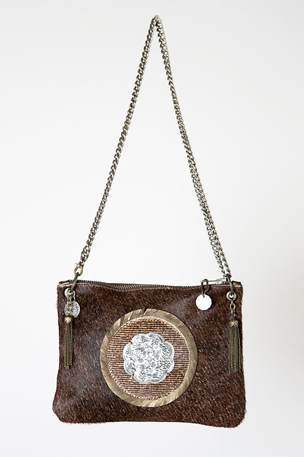 Handmade Leather with Hide and Hair Brown Crossbody Handbag with Metal Chain and Metallic Silver Circle