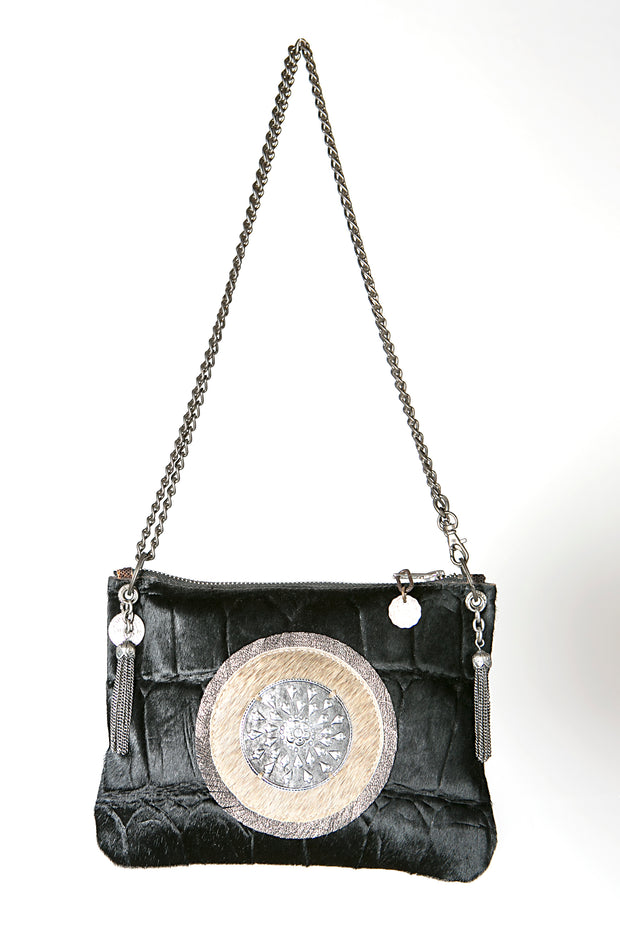 Handmade Leather Handbag in Black with Metal Patch - Crossbody Bag