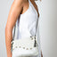 The Wavy White Handmade Leather Handbag with Adjustable Chain