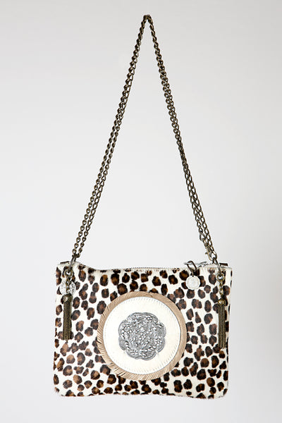 The Leopard Handmade Leather Handbag with adjustable chain, made in Ibiza, Linda Ibiza