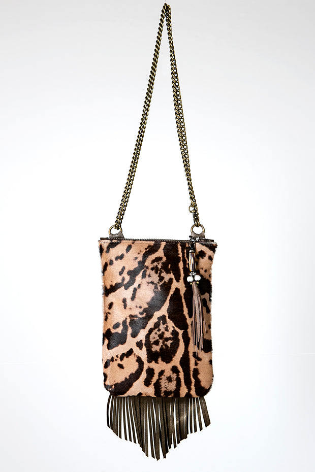 Handmade Leather Clubbing Bag or Mobile Phone Handbag in Black and Tan Safari Print with Fringe detail